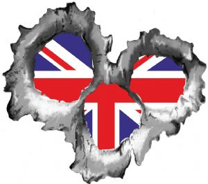 Bullet Hole Torn Metal 3 Shots With Union Jack British Flag Car Sticker 95x85mm